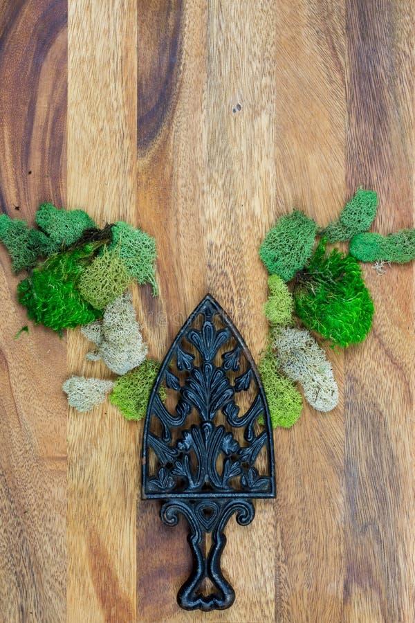 Lantligt gjutjärn och mossa med träbakgrund arkivfoton