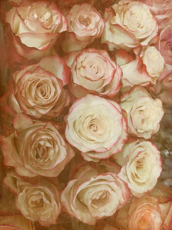 Lantligt grungy antikt foto av den blom- rosa buketten fotografering för bildbyråer