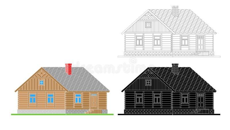 Lantligt hus från bearbetade journaler royaltyfri illustrationer
