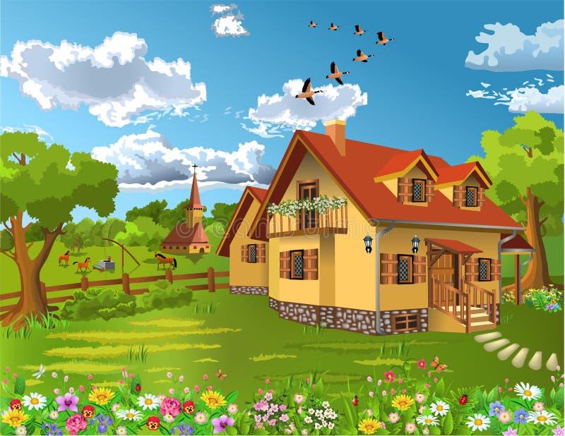 Lantligt hus i ett naturligt landskap stock illustrationer
