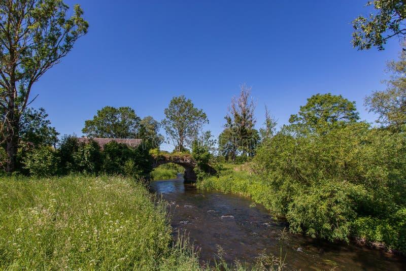Lantligt landskap för solig sommar med floden, den gamla bron, träd och blå himmel arkivfoton