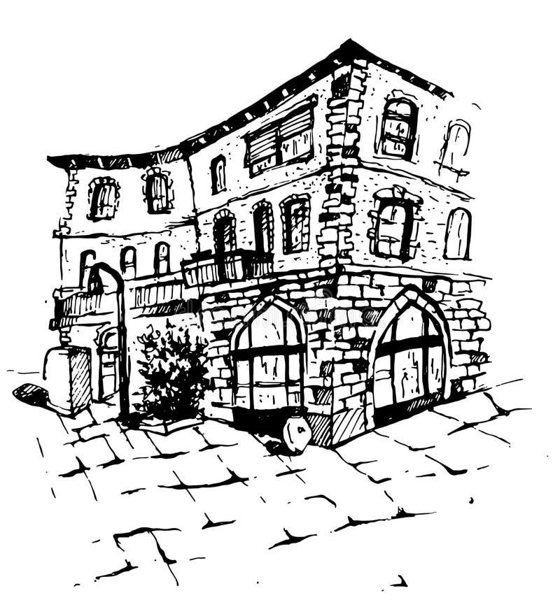 Lantligt landskap för vektor med det gamla lantgårdhuset och trädgården illustratören för illustrationen för handen för borstekol royaltyfri illustrationer