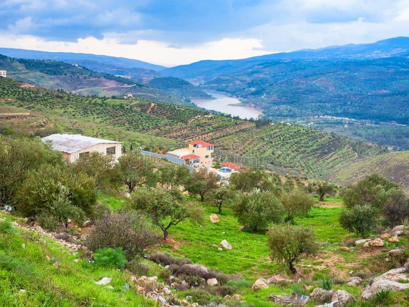 Lantligt landskap i den dalZarga floden i Jordanien royaltyfri bild