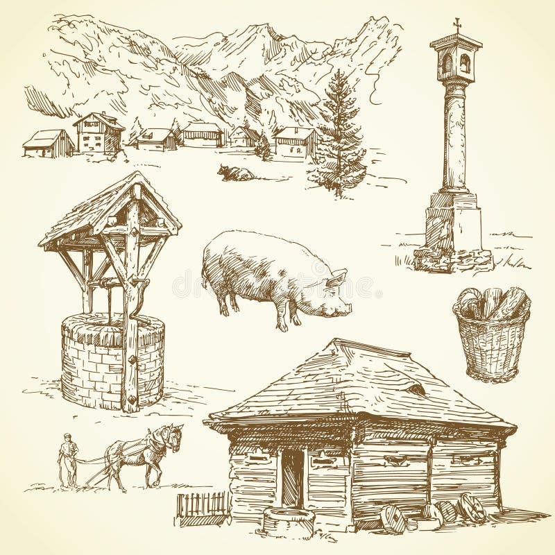 Lantligt landskap, jordbruk, lantgårddjur stock illustrationer
