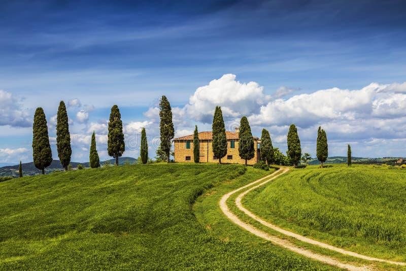 Lantligt landskap med det ensamma huset och cypressar omkring, Tuscany royaltyfri fotografi