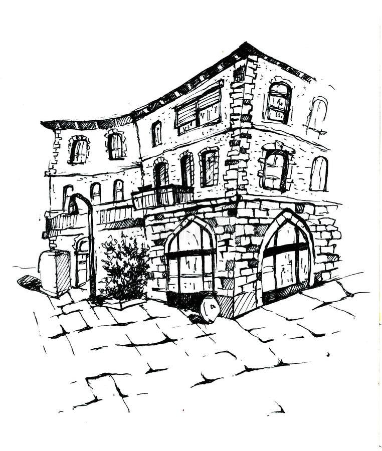 Lantligt landskap med det gamla lantgårdhuset och trädgården illustratören för illustrationen för handen för borstekol gör teckni vektor illustrationer
