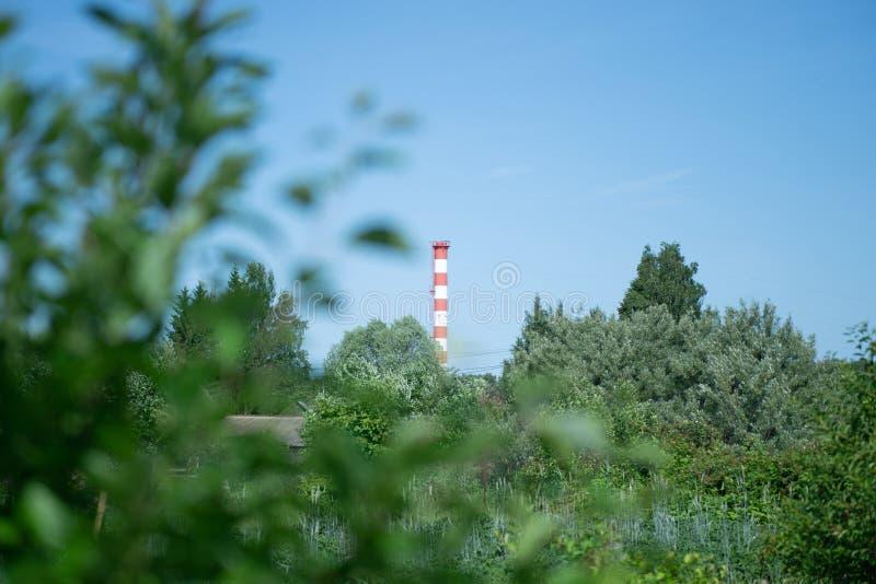 lantligt landskap med ett rör av en industriföretag begreppet som skadlig milj?m?nskligt f?rorena f?r behov ?teranv?nder, rotar s royaltyfri foto