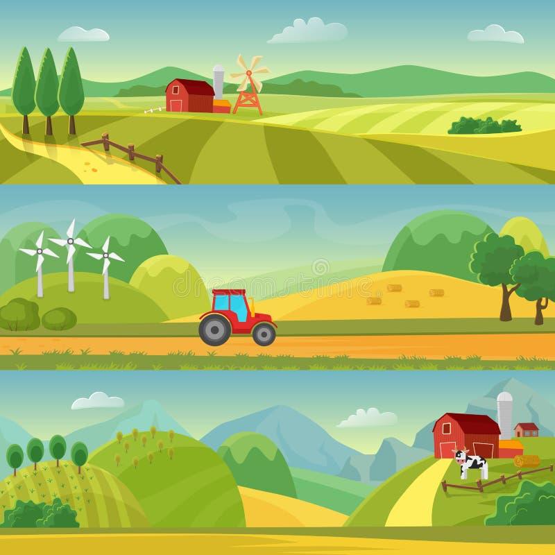 Lantligt landskap med fält och kullar och med en lantgård Jordbruk- och Agribusinesslantbruk Lantliga landskapmallar royaltyfri illustrationer