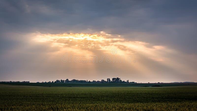 Lantligt landskap med mörk dramatisk himmel under soluppgång Strålarna av solen tränger igenom till och med ett mörkt moln arkivfoto
