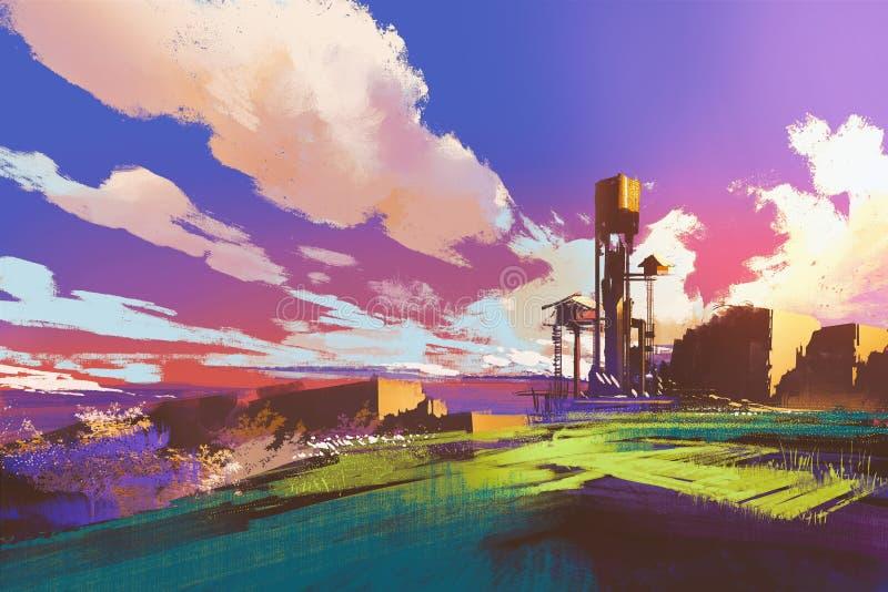 Lantligt landskap med små hus och fält under färgrik himmel vektor illustrationer