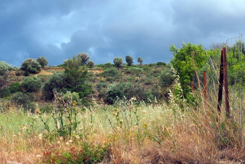 Lantligt landskap med stormig himmel royaltyfri bild