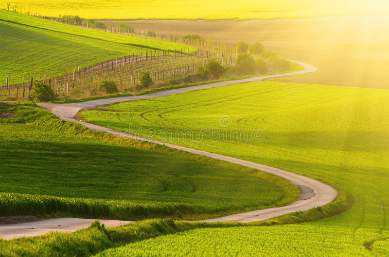 Lantligt landskap med vägen arkivfoton
