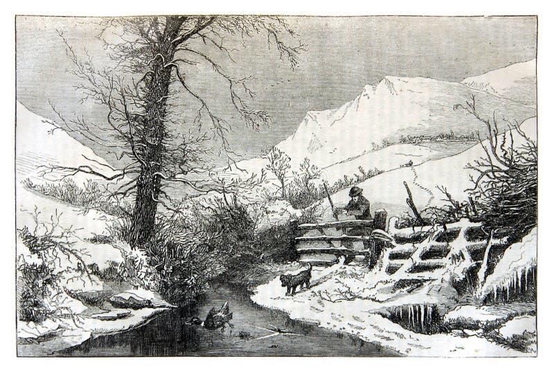 Lantligt landskap på slutet av vintern arkivfoton