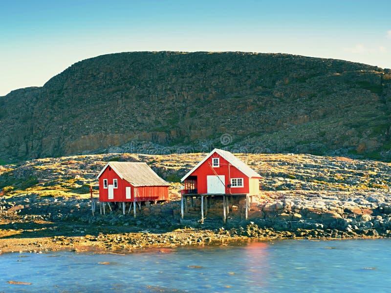 Lantligt norskt landskap, traditionellt rött och vitt trähus arkivbild