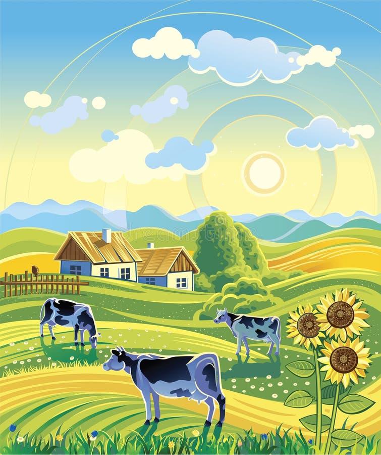 Lantligt sommarlandskap stock illustrationer