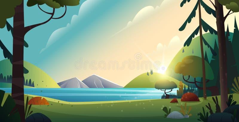 Lantligt tecknad filmlandskap Härlig sikt av sjön och bergen på skogbakgrund Naturlandskapsikt på floden vektor illustrationer