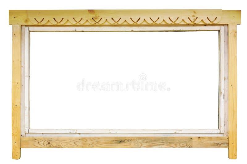 Lantligt träfönster som photoframe royaltyfri foto
