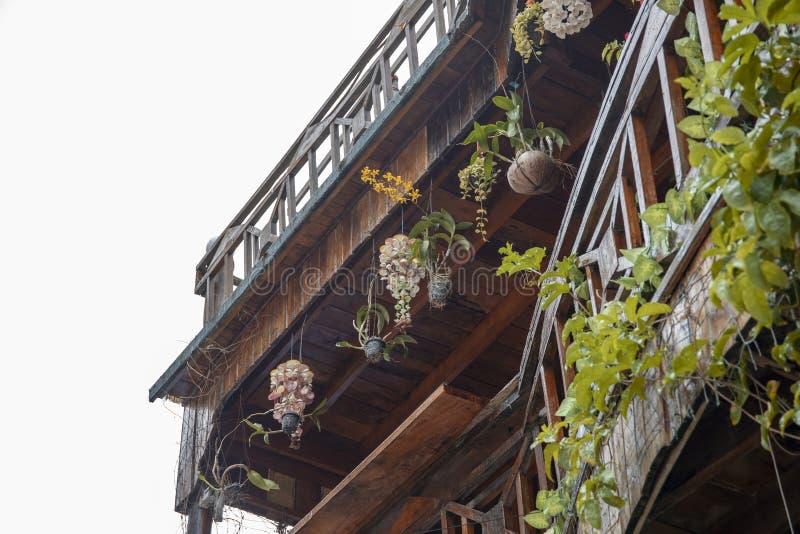 Lantligt trähus med cocoskalblomkrukan Balkong av den infödda stilstugan i den tropiska ön Ekologiskt hotell royaltyfri foto