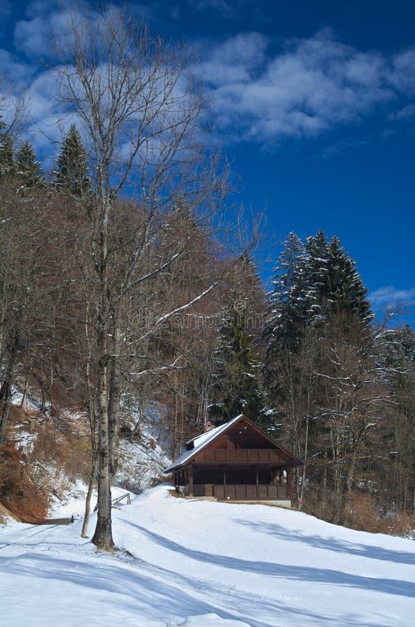 Lantligt trähus med snö royaltyfri foto