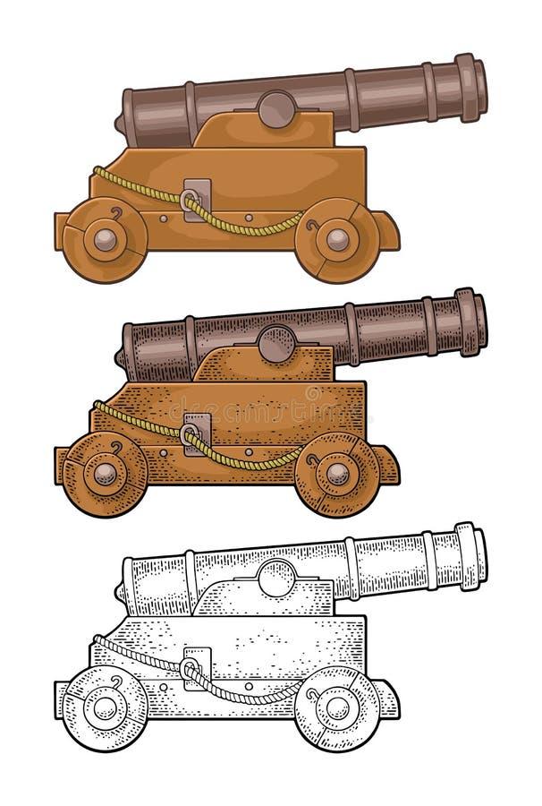 Lany żelazny działo na drewnianym frachcie z kołami  Odizolowywający na bielu royalty ilustracja