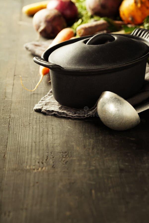 Lany żelazny garnek i warzywa obraz stock