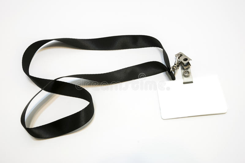 Lanyard with badge. Picture of lanyard with blank badge stock image