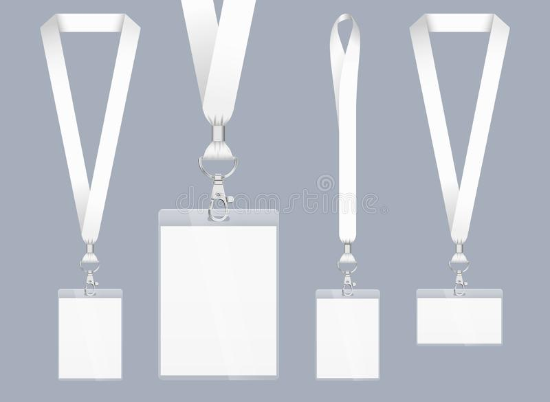 Lanyard design, realistic illustration. Identification card with ribbon. Metal closure and card with plastic. Accreditation for royalty free illustration