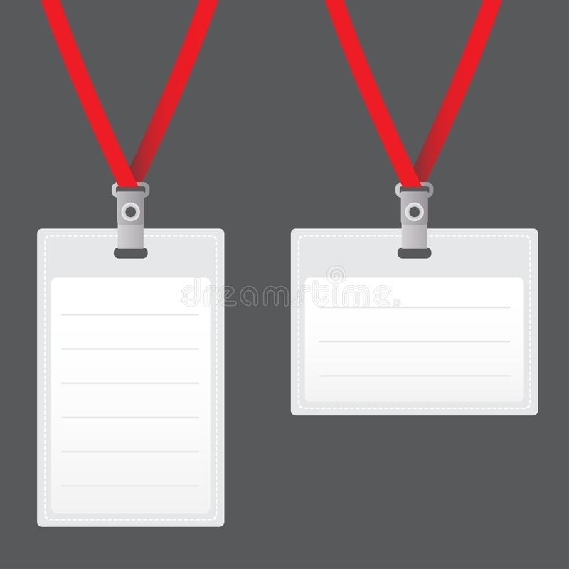 Business Card Mockup With Cord: Illustration Of Lanyard For Backstage, Party Or Event