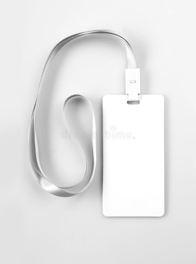 Lanyard Tag Badge Mockup bianco in bianco fotografia stock libera da diritti