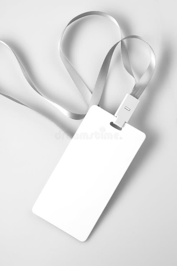 Lanyard Tag Badge Mockup blanco en blanco fotografía de archivo libre de regalías