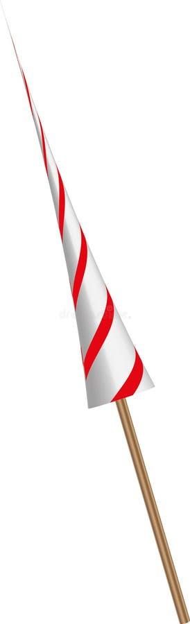 lanza caballeresca aguda del color blanco y rojo con una manija de madera imagen de archivo libre de regalías