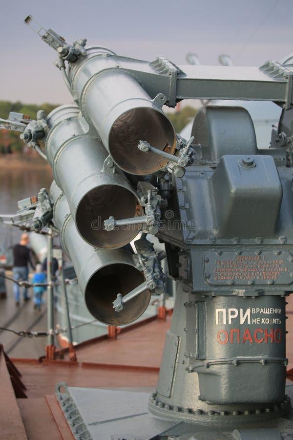 Lanzacohetes antisubmarino y antitorpedo ruso RBU-1000 Smerch-3 Primer trasero de la visión fotografía de archivo