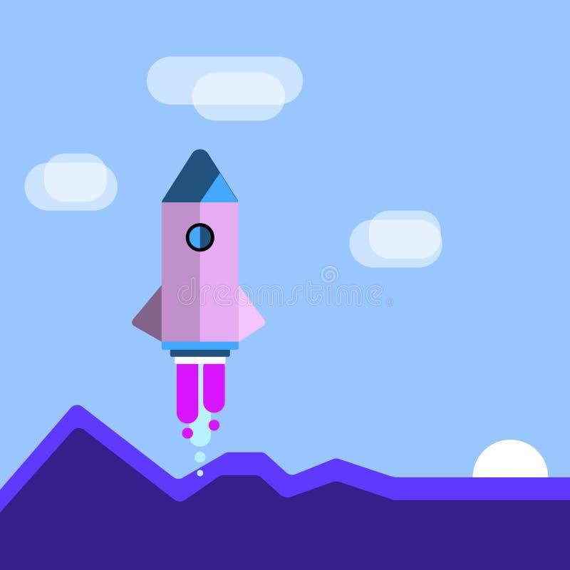 Lanzadera colorida Rocketship de la nave espacial que lanza con las monta?as y las nubes Idea creativa del fondo para los nuevos  libre illustration