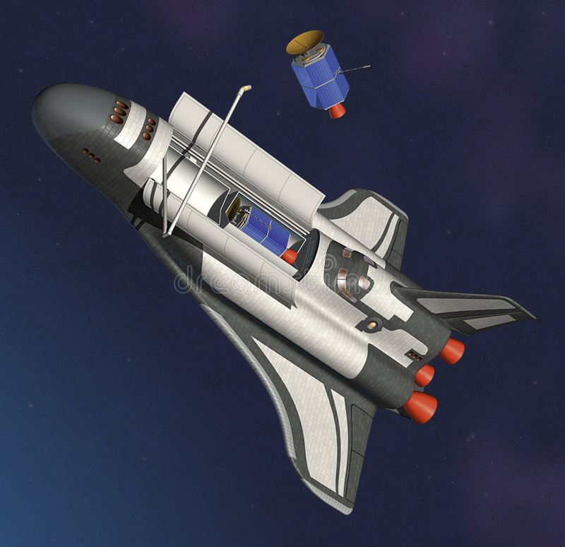 Lanzadera y satélite de espacio ilustración del vector