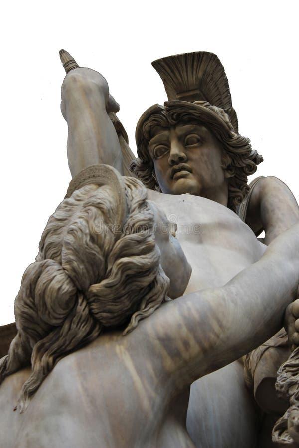 Lanzamiento aislado del primer para la vieja escultura mitológica anticuada griega de la escena en Florencia fotos de archivo