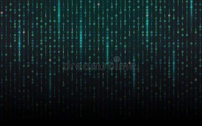 Lanzamiento de la matriz Background Fluir código binario Dígitos que caen en el contexto oscuro Concepto de los datos Textura fut stock de ilustración