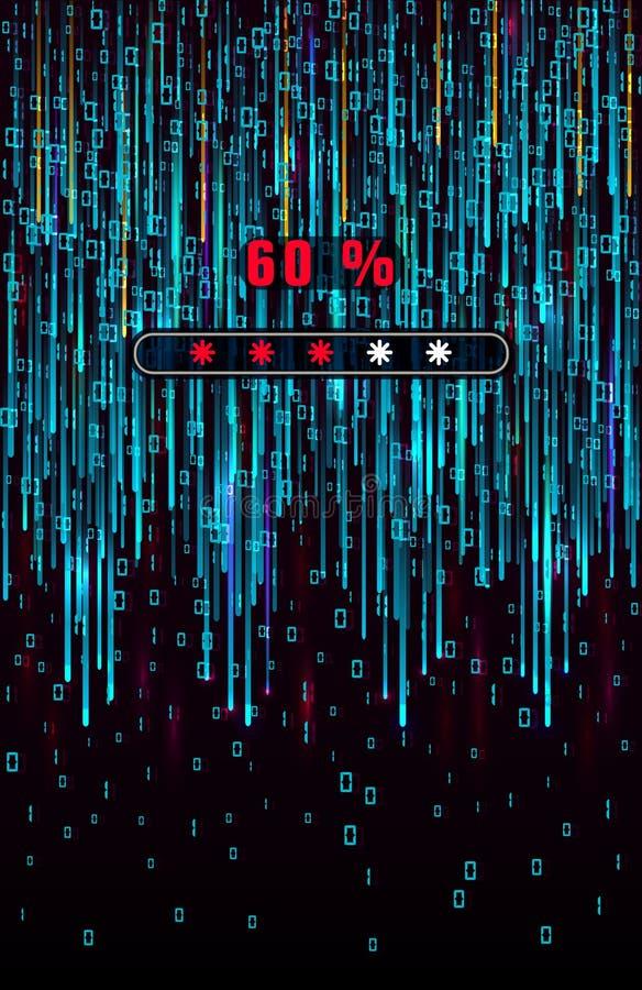 Lanzamiento de la matriz Background Los datos grandes progresan visualización cargada Flujo azul de datos como secuencias de los  ilustración del vector