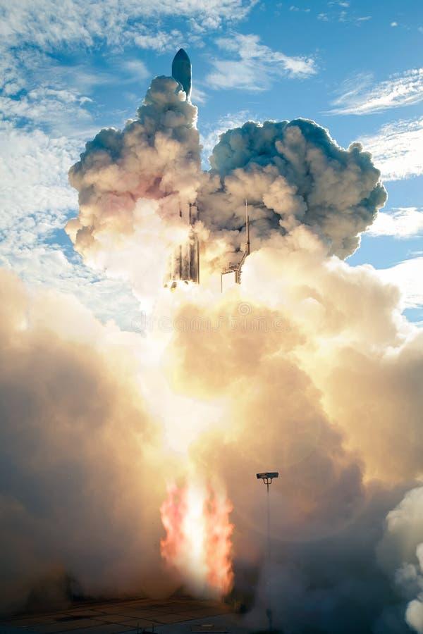 Lanzamiento de la nave espacial en el d3ia fotografía de archivo