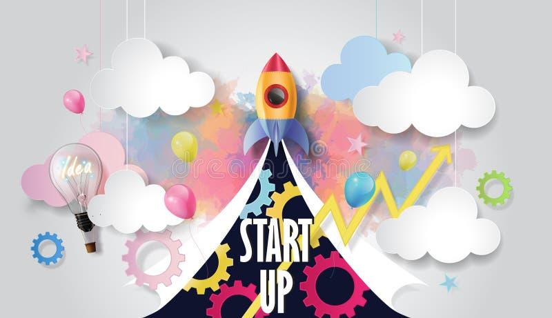 Lanzamiento de la nave de Rocket entre elementos de la bombilla, del globo, del gráfico y del negocio en el fondo de la acuarela, ilustración del vector