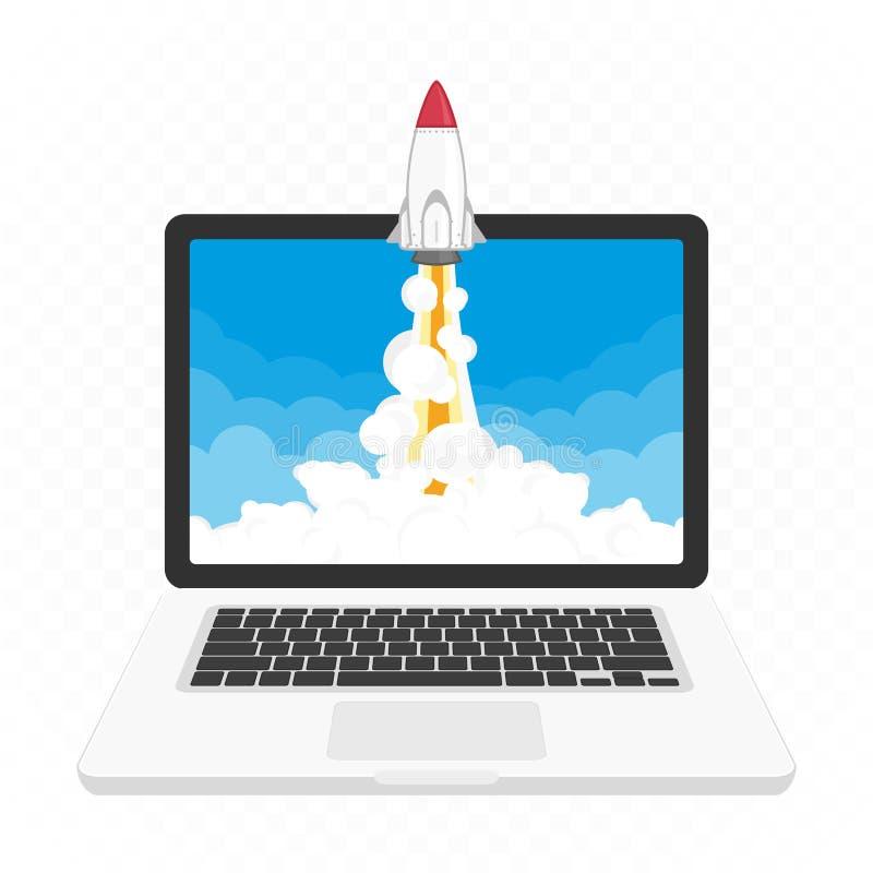 Lanzamiento de Rocket en el ordenador portátil ilustración del vector