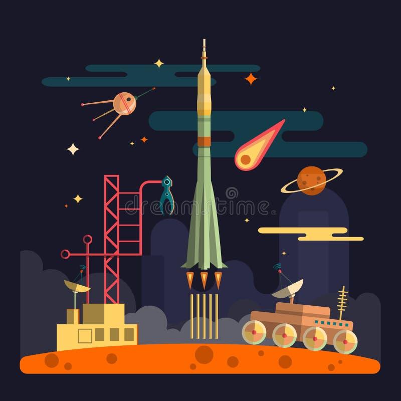 Lanzamiento de Rocket en fondo del paisaje del espacio Ejemplo del vector en diseño plano Planetas, satélite, estrellas, vagabund ilustración del vector