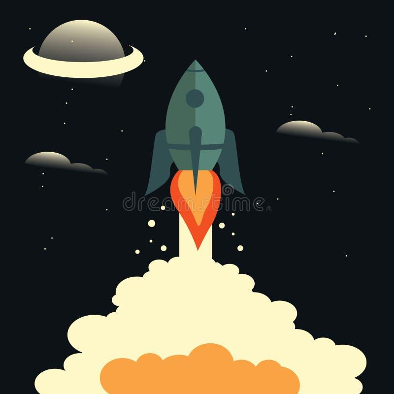 Lanzamiento de Rocket, nave vector, concepto del ejemplo del producto del negocio en un mercado libre illustration