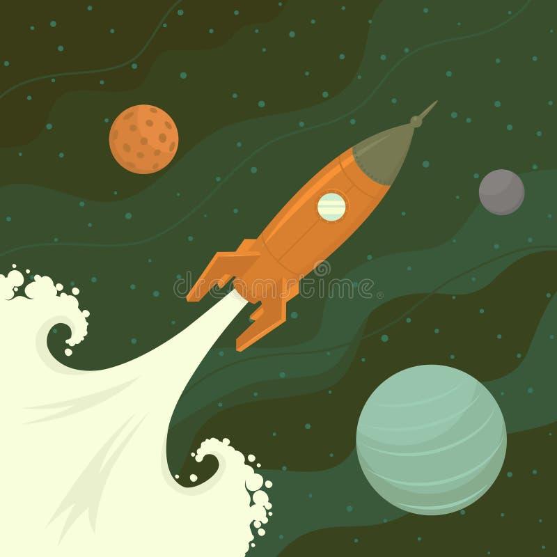 Lanzamiento del cohete de espacio ilustración del vector