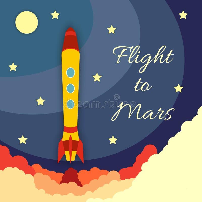 Lanzamiento del cohete de espacio stock de ilustración