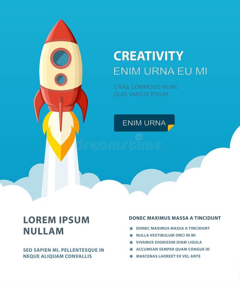 Lanzamiento del cohete de espacio Comience para arriba el estilo plano del concepto Ilustración del vector ilustración del vector