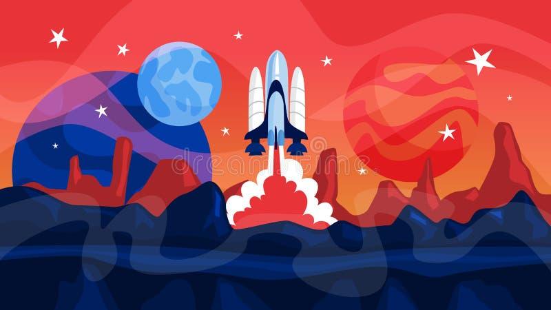 Lanzamiento del cohete de espacio con los planetas en fondo ilustración del vector