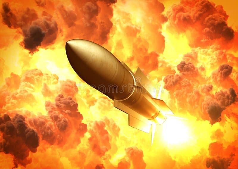 Lanzamiento del misil en las nubes del fuego libre illustration