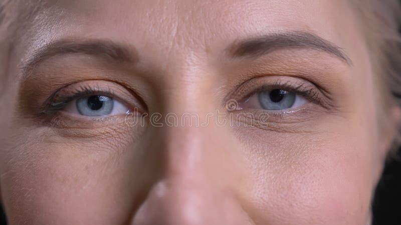 Lanzamiento del primer del caucásico atractivo joven femenino con los ojos azules que miran derecho la cámara imagen de archivo