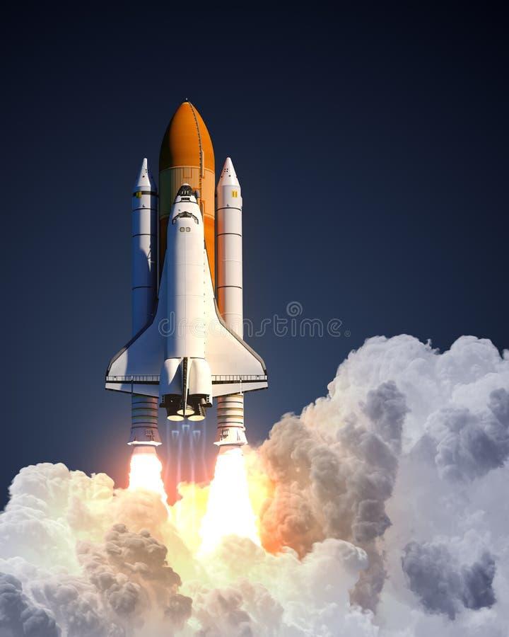 Lanzamiento del transbordador espacial en fondo azul stock de ilustración