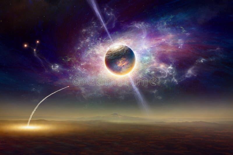 Lanzamiento del transbordador espacial, planeta de los extranjeros y galaxia torcida imagenes de archivo
